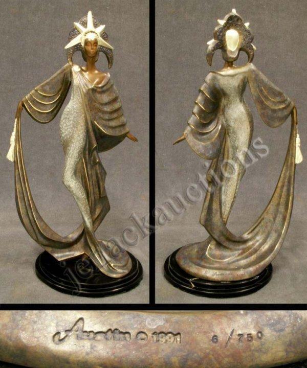 11: ART DECO STYLE BRONZE FIGURE OF A WOMAN