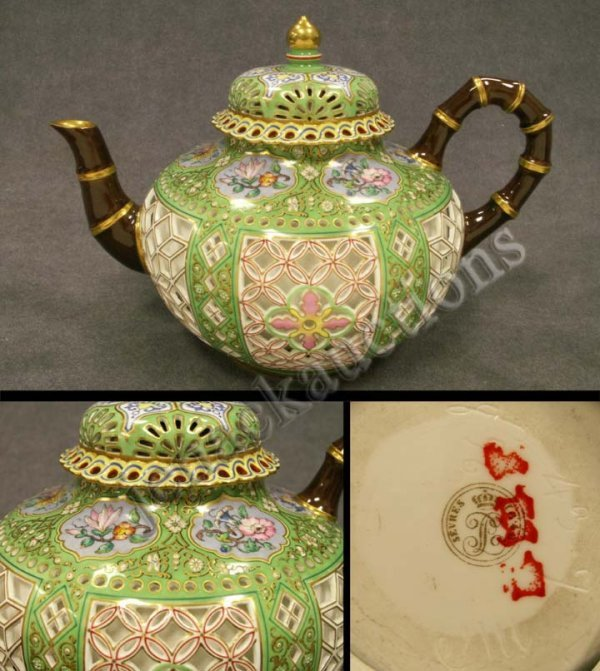 22: SEVRES STYLE PORCELAIN RETICULATED TEAPOT
