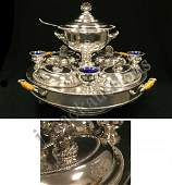225 ENGLISH SILVER PLATE CONDIMENT LAZY SUSAN