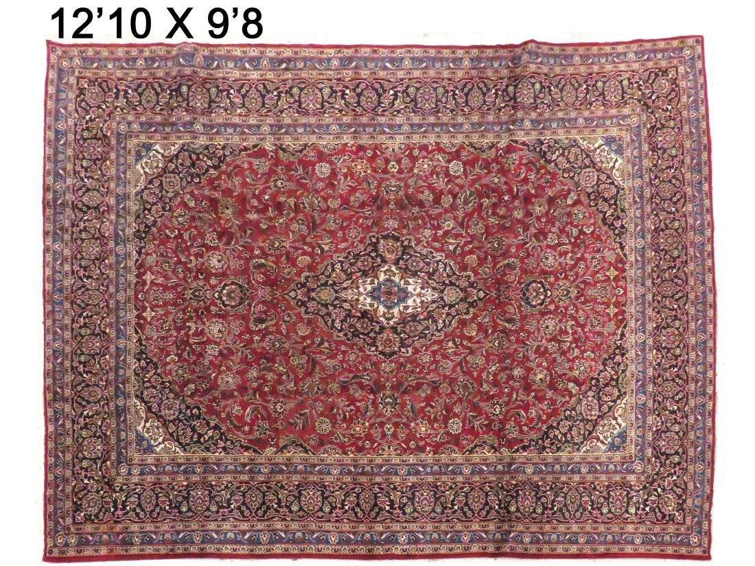 "OLD KASHAN CARPET. 12'10"" X 9'8"""