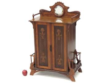 ART NOUVEAU CARVED CHERRY MUSIC CABINET, 1892. HEIGHT