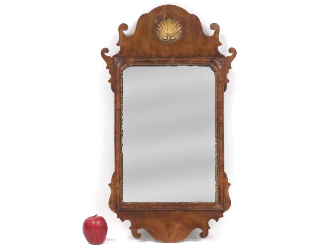 GEORGE II CARVED WALNUT FRAMED MIRROR PLATE WITH CARVED