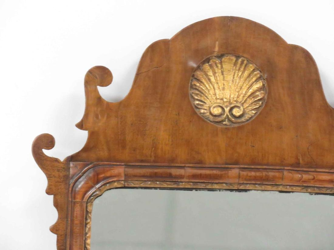 GEORGE II CARVED WALNUT FRAMED MIRROR PLATE WITH CARVED - 2