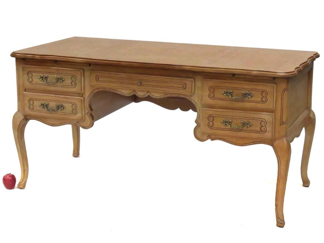 FRENCH PROVINCIAL STYLE CARVED FRUITWOOD BUREAU PLAT,