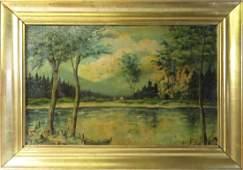 EUROPEAN SCHOOL 20TH CENTURY OIL ON ARTIST BOARD