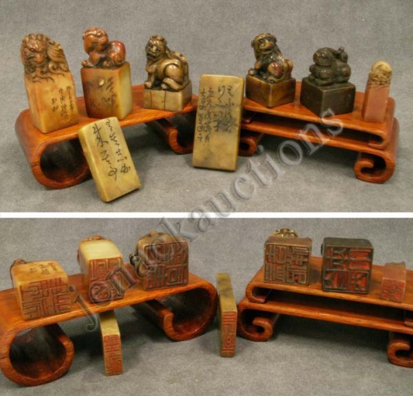 1001: LOT (8) ASSORTED CHINESE CARVED SOAPSTONE SEALS