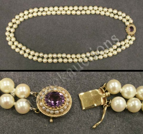 1004: 14K AMETHYST SEED PEARL CLASP/PEARL NECKLACE