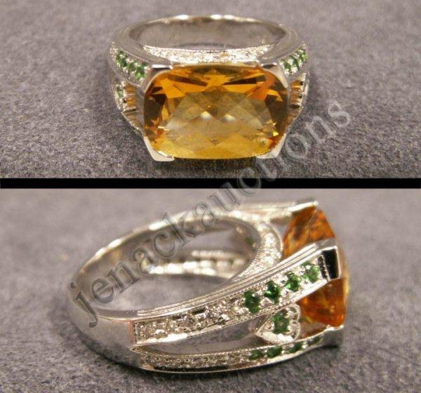 1010: 18K FANCY CUT CITRINE, DIAMOND & TSAVORITE RING
