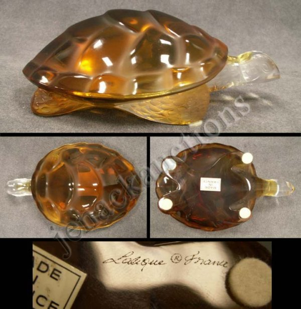 1013: LALIQUE FRANCE AMBER/CLEAR GLASS TURTLE