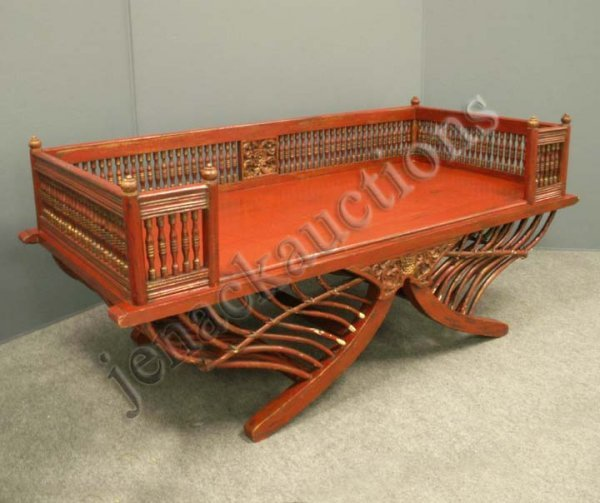 1024: INDO-CHINESE CARVED/PAINTED HOWDAH