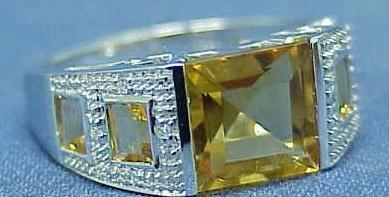 2006: 14K WHITE GOLD CITRINE & DIAMOND RING