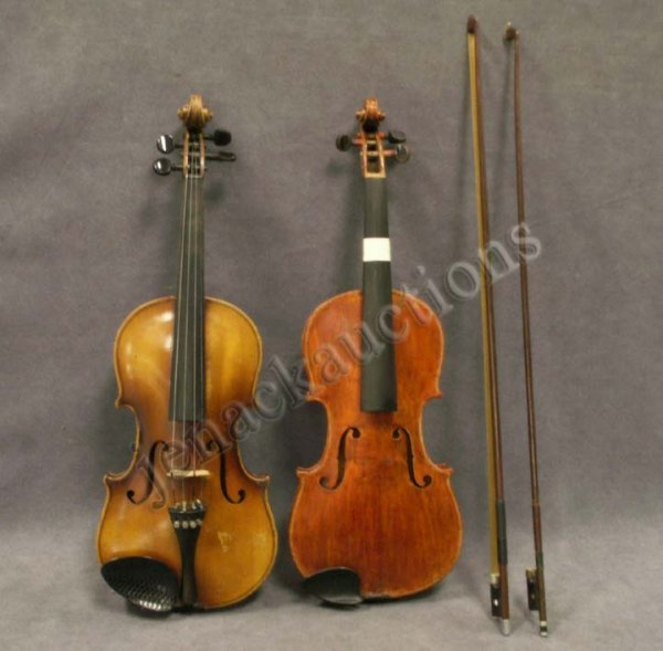 2: LOT (2) VINTAGE STRAD MODEL VIOLINS WITH BOWS