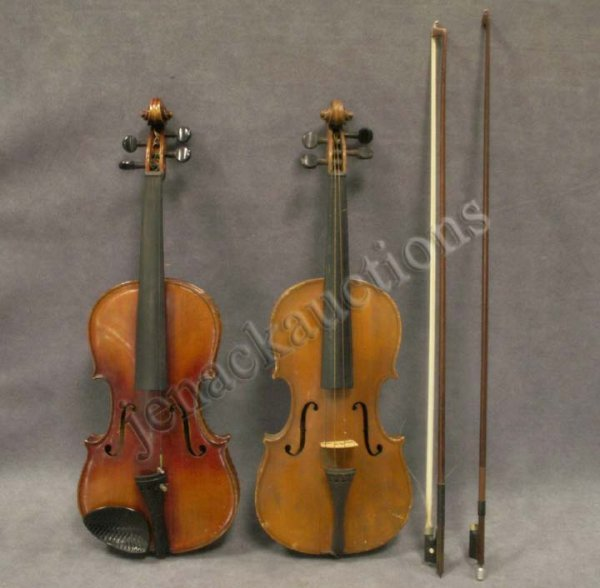 10: LOT (2) VINTAGE STRAD MODEL VIOLINS WITH BOWS