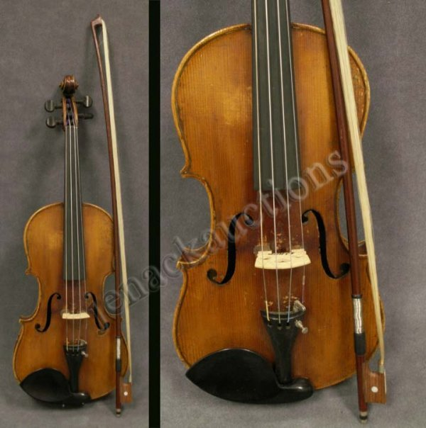 14: VINTAGE STRAD MODEL VIOLIN WITH SIGNED BIEGLER BOW
