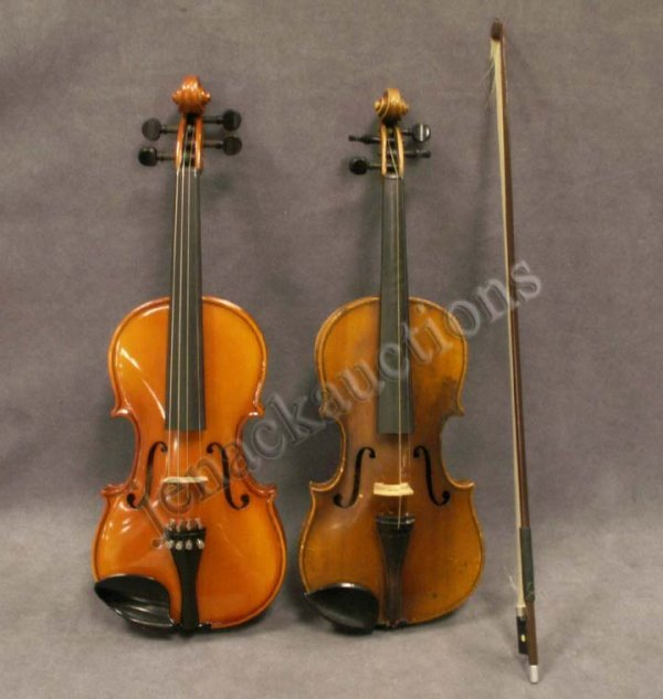 18: LOT (2) VIOLINS VINTAGE STRAD MODEL ¾ YOUTH