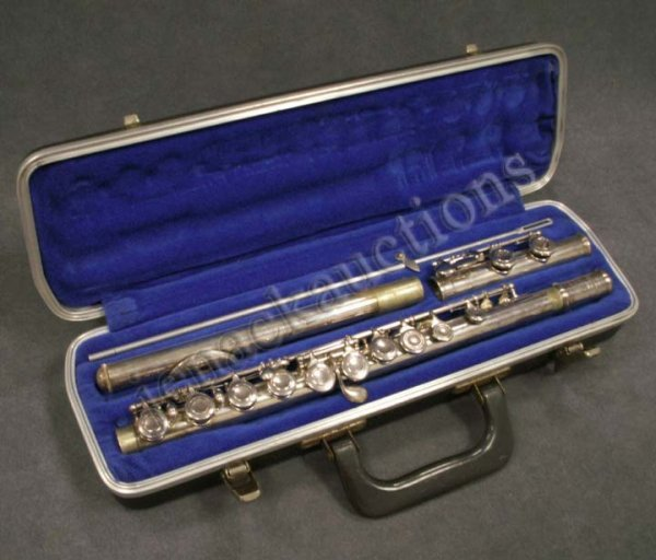 21: BRUNDY AND SELMER SILVER PLATE FLUTE WITH CASE