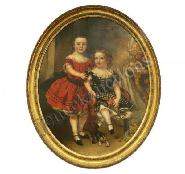 181: PAINTING, PORTRAIT OF GIRLS & KITTENS, J. HORNER