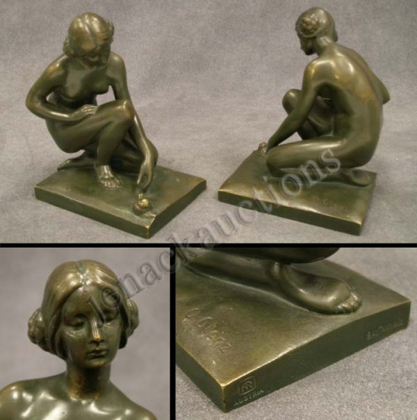 1006: PAIR BRONZE BOOKENDS, KNEELING NUDES WITH SNAILS