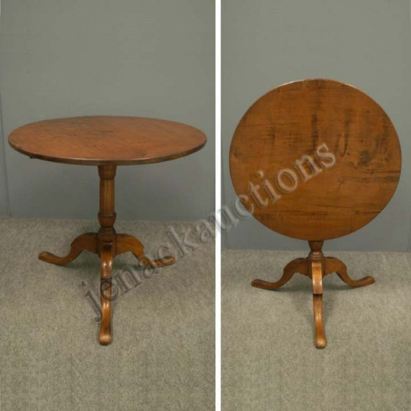 1011: MAHOGANY/OAK TILT-TOP STAND, 19TH CENTURY