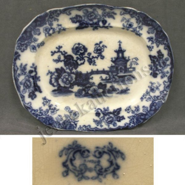 "1013: FLOW BLUE ""AMOUR"" CHINA PLATTER"