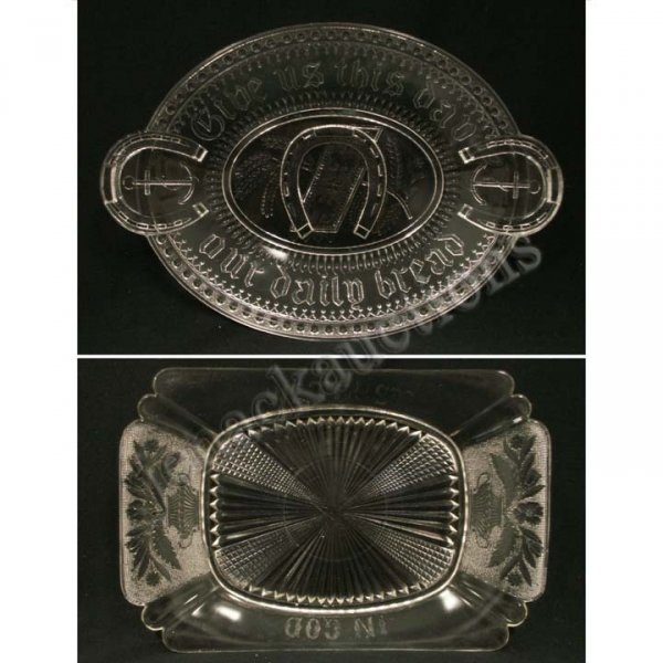 1018: LOT (2) EARLY PATTERN GLASS BREAD TRAYS