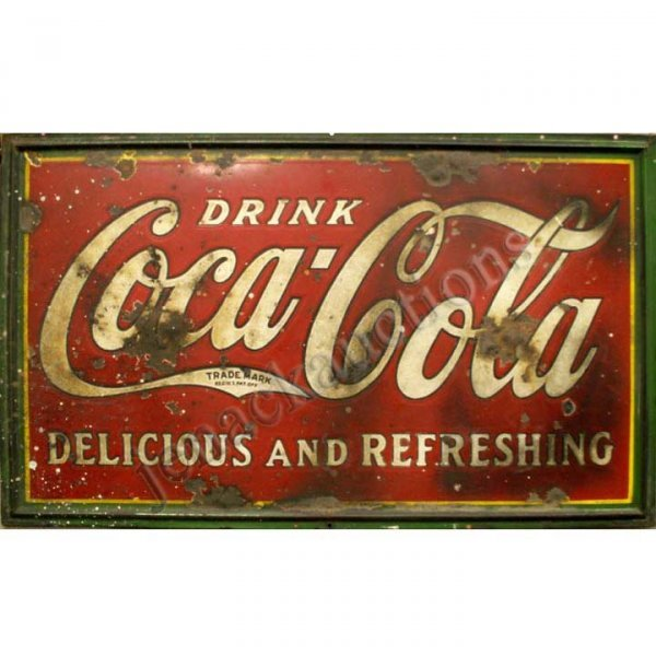 1019: ENAMEL, PORCELAIN AND METAL COCA COLA SIGN