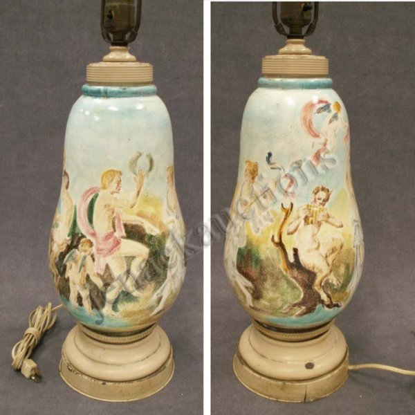 1024: ITALIAN FAIENCE POTTERY VASE/TABLE LAMP