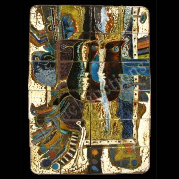 1143: GLAZED TILE PANEL, ABSTRACT WITH PEOPLE, QUERUBIN