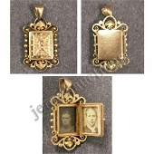 1269 VICTORIAN YELLOW GOLD LOCKET WITH SEED PEARL