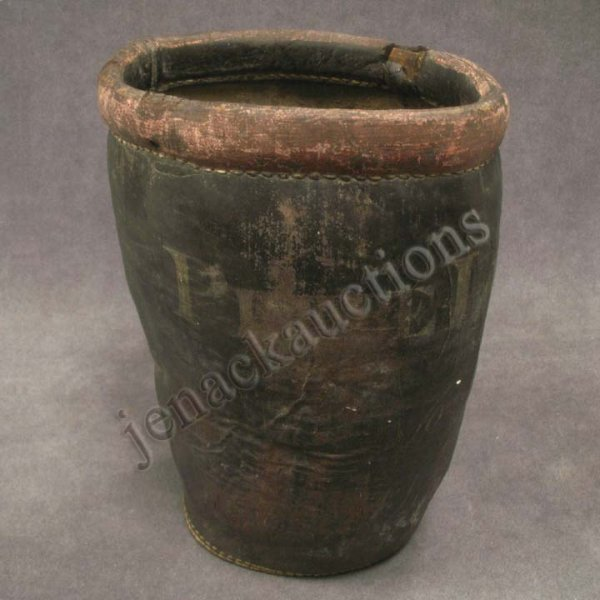 2003: VINTAGE PAINTED LEATHER FIRE BUCKET