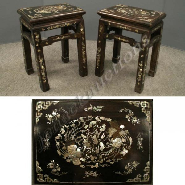 3: PAIR CHINESE MOUNTAIN ASH INLAID STOOLS