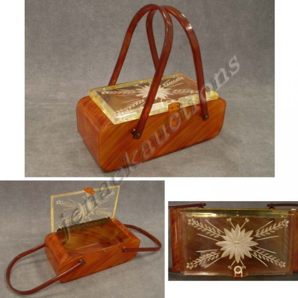 9: VINTAGE BUTTERSCOTCH CATALIN HAND BAG, SIGNED