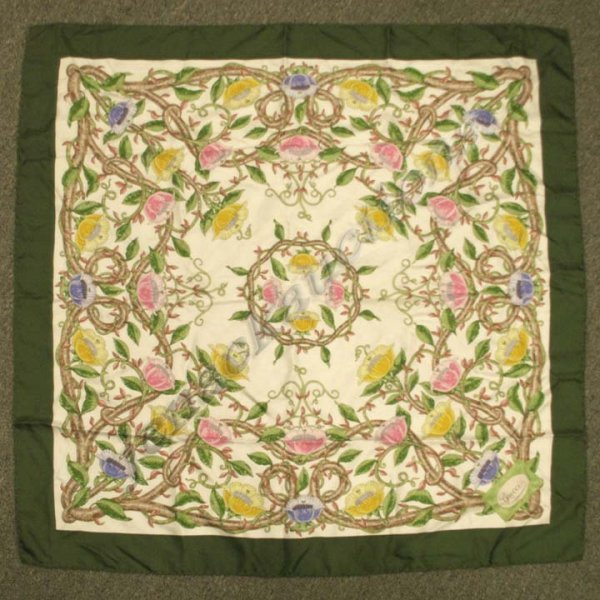 13: GUCCI SILK FLORAL SCARF WITH ROLLED EDGES