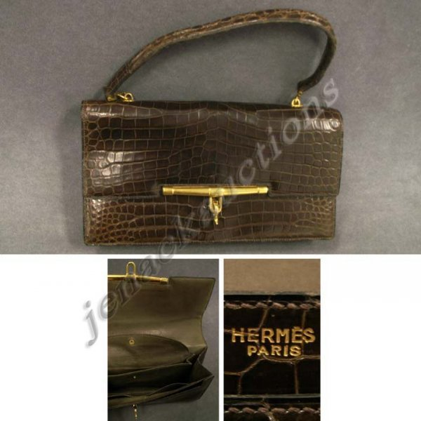 14: VINTAGE HERMES-PARIS CROCODILE HAND BAG, SIGNED