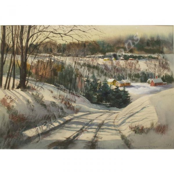 16: WATERCOLOR, WINTER SCENE-CONNECTICUT, SIGNED