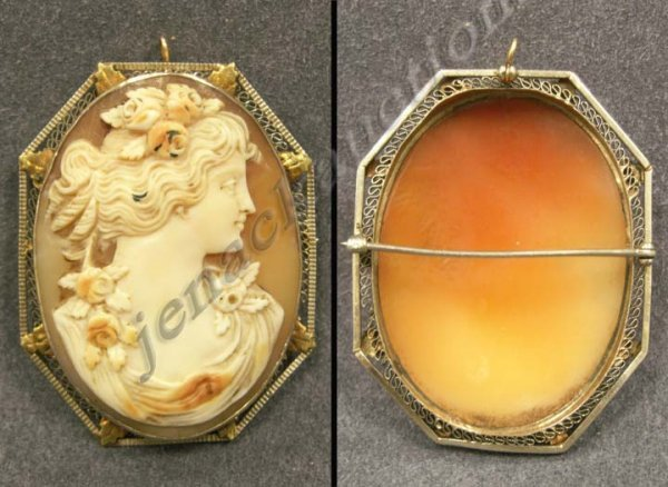 24: VICTORIAN 14K WHITE & YELLOW GOLD CAMEO BROOCH