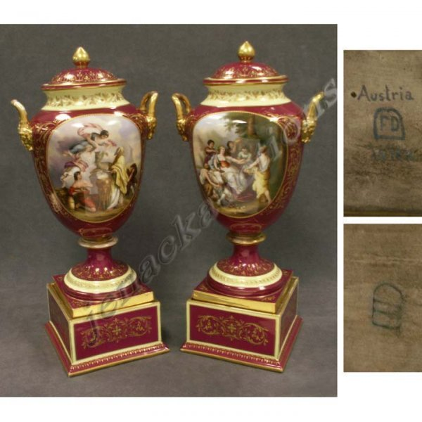 363: PAIR ROYAL VIENNA DECORATED PORCELAIN COVERED URNS