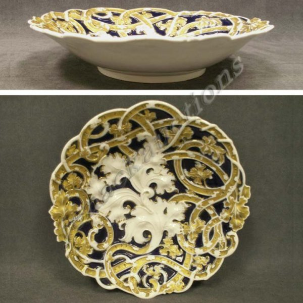 1010: MEISSEN PORCELAIN GILT & COBALT CENTER BOWL