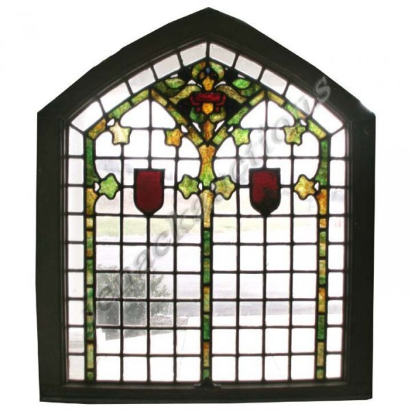 1015: ANTIQUE STAINED AND LEADED GLASS WINDOW