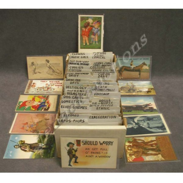 2002: BOX ASSORTED VINTAGE POSTCARDS (APPROX 590)