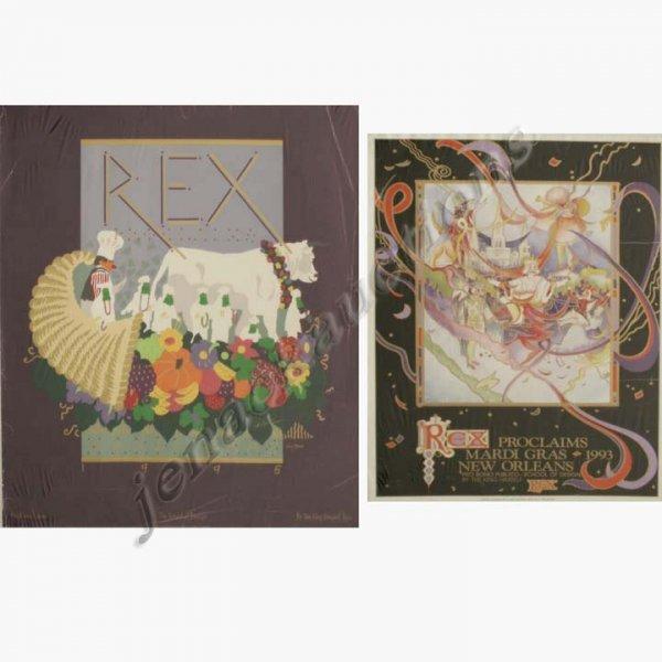 2008: LOT (2) REX MARDI GRAS POSTERS, 1993, 585/5000