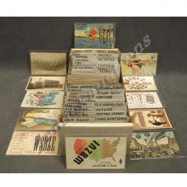 2018: BOX ASSORTED VINTAGE POSTCARDS (APPROXIMATELY 594