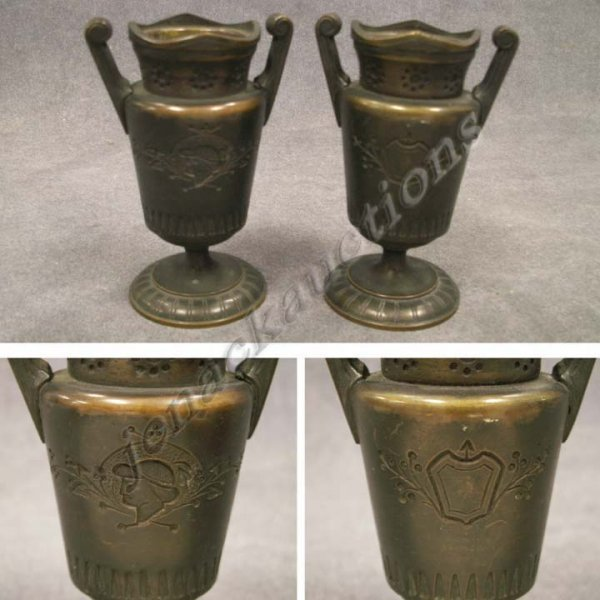 5: PAIR BRONZE CLASSICAL REVIVAL STYLE CABINET VASES