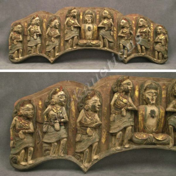 19: THAI CARVED AND GILT RELIEF PANEL OF BUDDHA