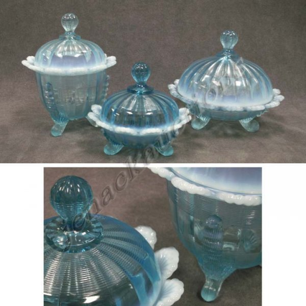 1005: LOT (3) OPALESCENT BLUE PATTERN GLASS BOWLS