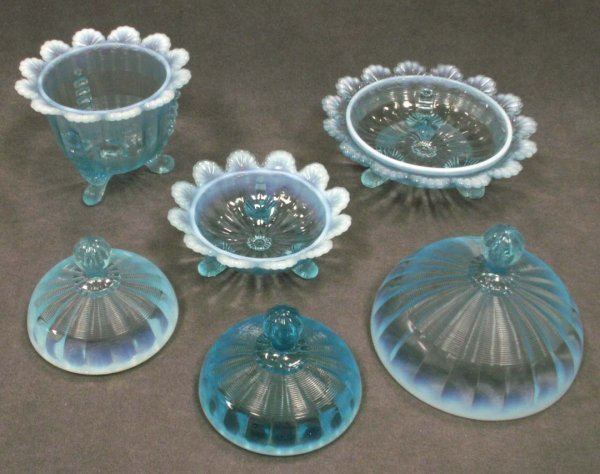1005: LOT (3) OPALESCENT BLUE PATTERN GLASS BOWLS - 2