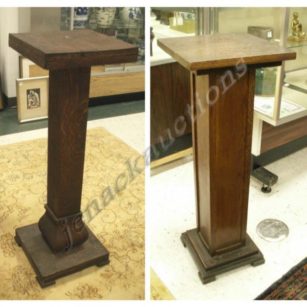 1007: LOT (2) CARVED OAK PEDESTALS, EARLY 20TH CENTURY