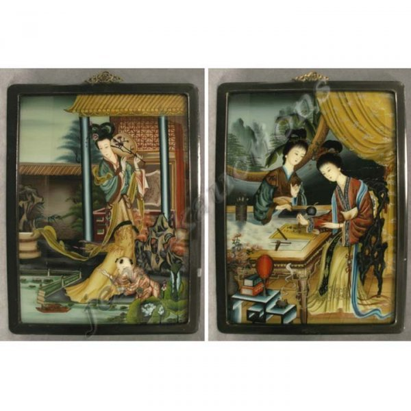 1012: PAIR CHINESE EGLOMISE PAINTED PANELS