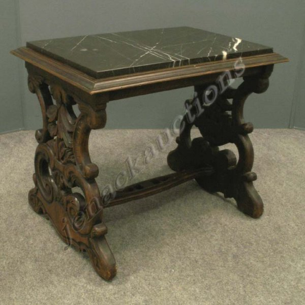 1019: RENAISSANCE STYLE CARVED WALNUT & MARBLE-TOP STAN