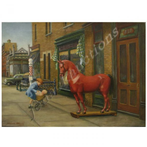 1124: OIL ON CANVAS, RED HORSE, SIGNED THOMAS ATTARDI